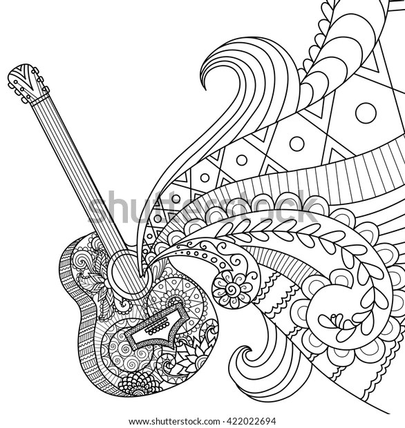 Doodles Design Guitar Coloring Book Adult Stock Vector