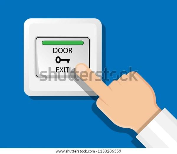 door access control system rfid exit stock vector royalty