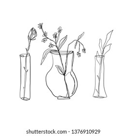 Flower Vase Outline Images, Stock Photos & Vectors