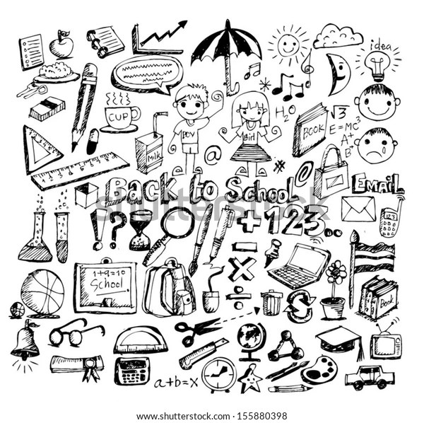 Drawing School Items Back School Vector Stock Vector