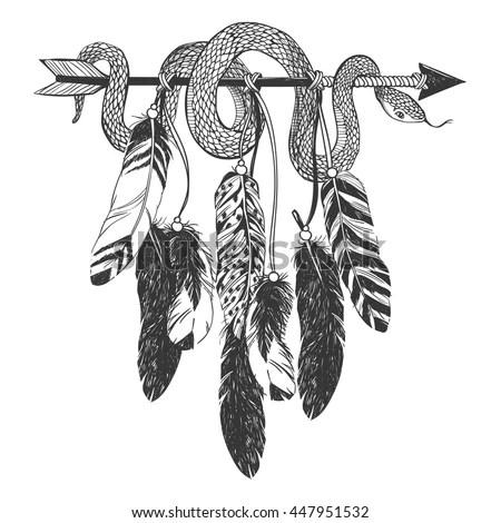 Dreamcatcher Arrow Feathers Snake Native American Stock