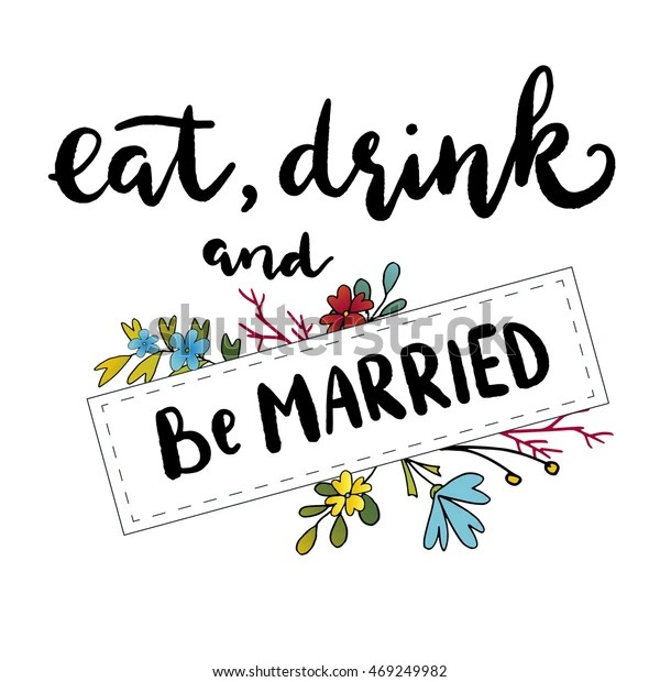 Eat Drink Be Married Templates Labels Stock Vector
