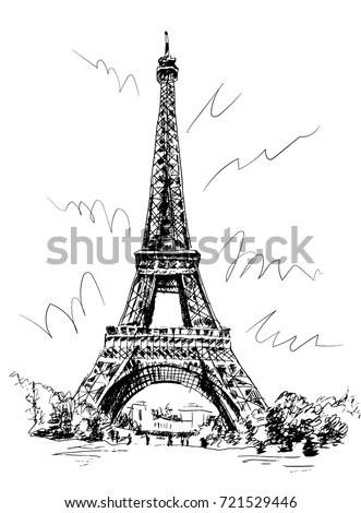 Eiffel Tower Drawn By Pen Tracing Stock Vector (Royalty