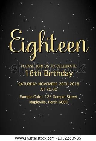 Eighteen Invitation Card 18th Birthday Party Vector Template