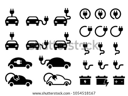 Electric Car Icons Vector Set Hybrid 스톡 벡터(사용료 없음