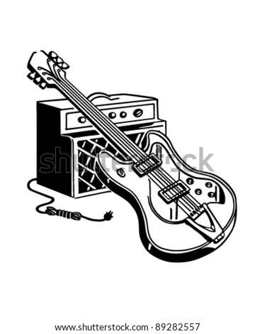 Electric Guitar Amplifier Retro Clipart Illustration Stock