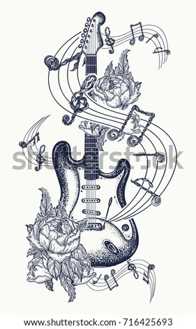 Electric Guitar Roses Music Notes Rock Stock Vector