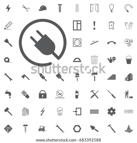 Electric Plug Icon Lamp Bulb Battery Stock Vector (Royalty