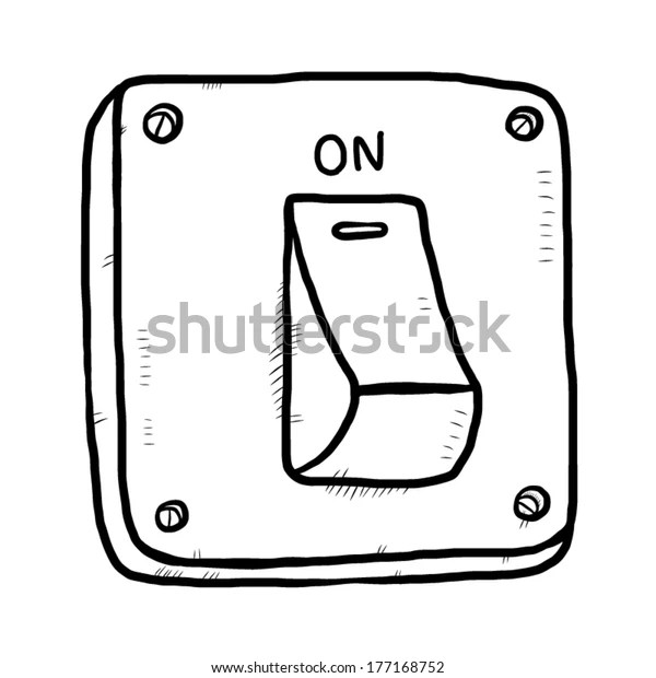 Electric Switch On Cartoon Vector Illustration Stock