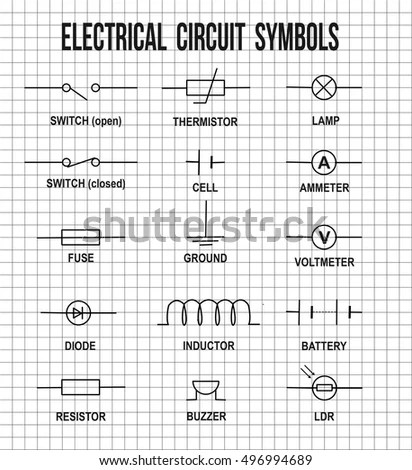 Electrical Circuit Symbols On On Math Stock Vector