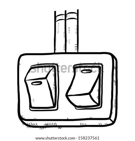 Electrical Switch Button Cartoon Vector Illustration Stock