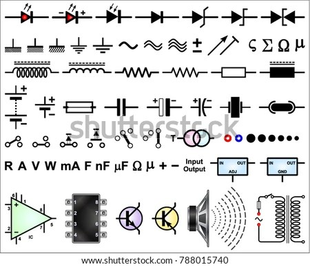 Electronic Circuit Symbols Stock Vector (Royalty Free