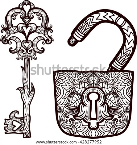 Elegant Vintage Keys Lock Ornamental Forged Stock Vector