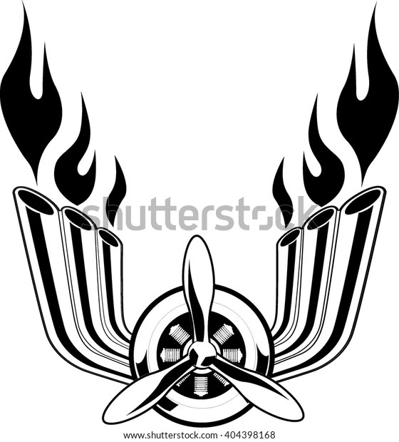 Emblem Aircraft Engine Exhaust Pipes Fire Stock Vector