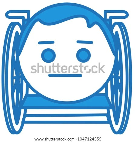 wheelchair emoji turquoise desk chair disabled man sitting person stock vector royalty with in a disability of legs