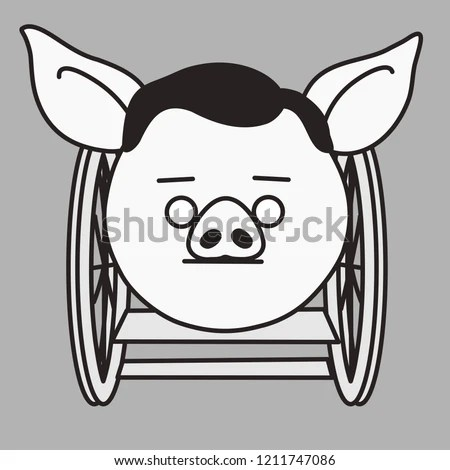 wheelchair emoji chair cover rentals albany ga disabled pig man that sitting stock vector royalty free with is in a person disability of