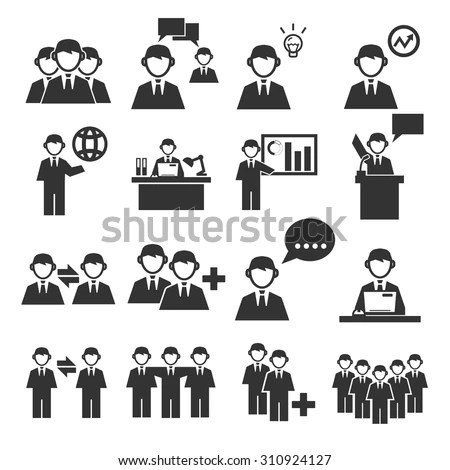 Employee Office Team Icon Set Stock Vector (Royalty Free