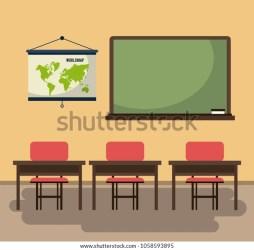 Empty Classroom Cartoon Stock Vector Royalty Free 1058593895