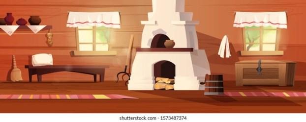 Empty Interior Russian Hut Ancient Russian Stock Vector Royalty Free 1573487374