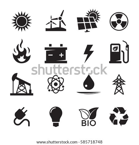 Energy Icons Set Black On White Stock Vector (Royalty Free