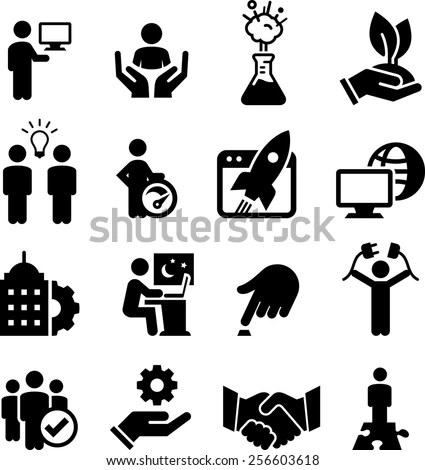 Entrepreneurial Business Startup Icons Stock Vector