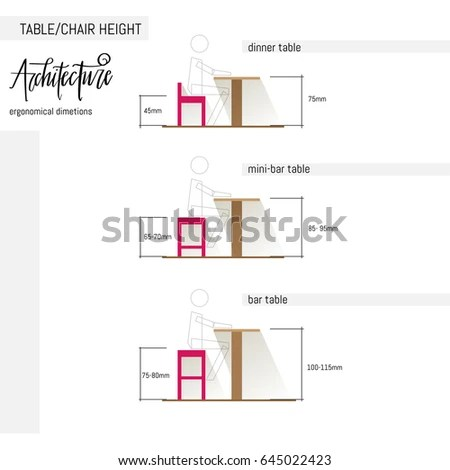 ergonomic chair design dimensions small fold up camping chairs vector illustration various table stock of and height combination with correct in