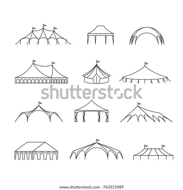 Event Wedding Outdoor Marquee Tents Vector Stock Vector