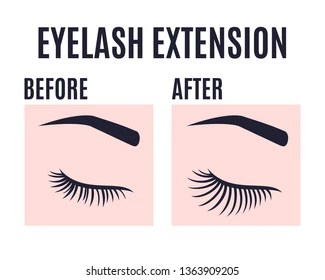 https www shutterstock com image vector eyelashes extension design before after care 1363909205