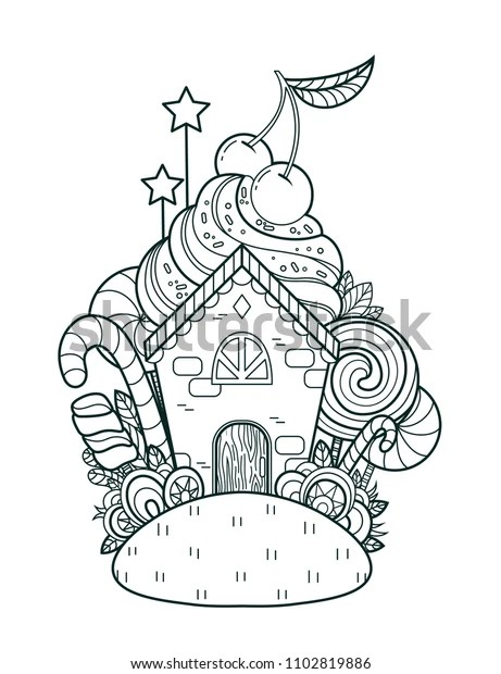 Fabulous Sweet Home Page Coloring Book Stock Vector