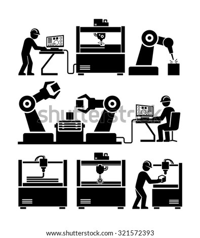 Factory Worker Working Machinery Vector Icons Stock Vector