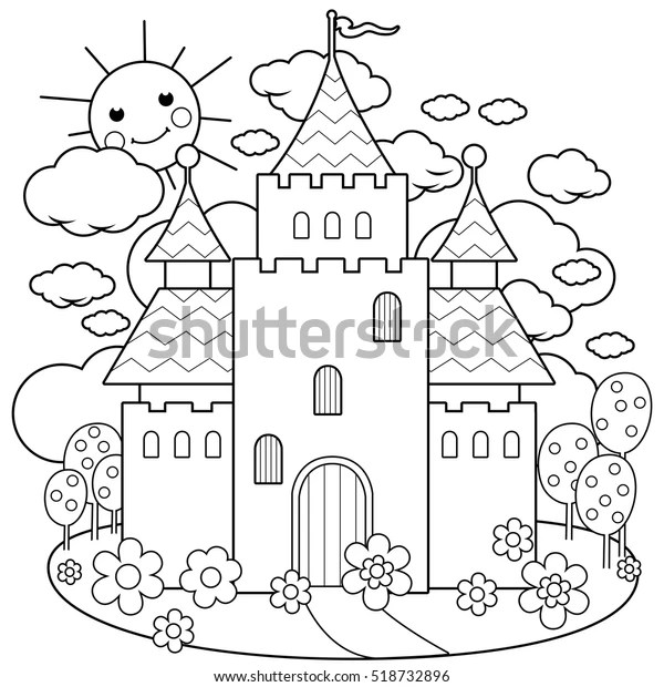 Fairy Tale Castle Flowers Coloring Page Stock Vector