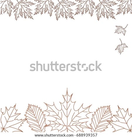 Falling Autumn Leaves Outline Close Composing Stock Vector