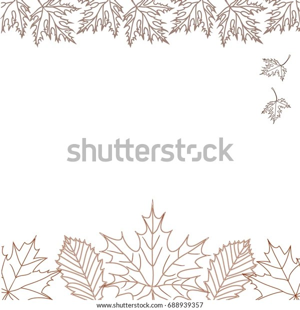 Falling Autumn Leaves Outline Close Composing Stock Vector Royalty Free 688939357