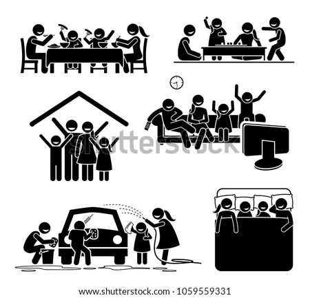 Family Activities Time Home Stick Figures Image