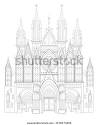 Fantasy Drawing Medieval Gothic Castle Black Stock Vector Royalty Free 1198173406
