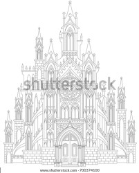 Fantasy Drawing Medieval Gothic Castle Black Stock Vector Royalty Free 700374100