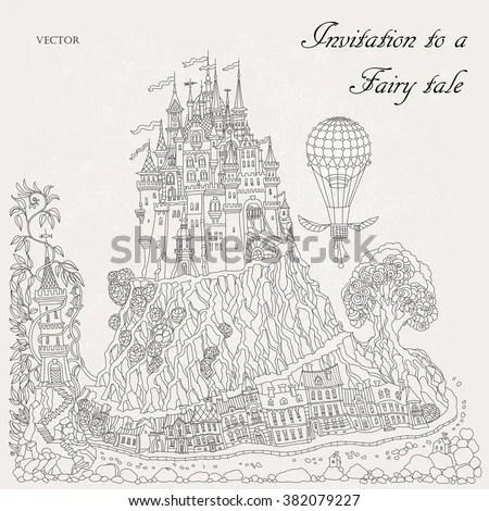 Fantasy Landscape Fairy Tale Medieval Castle Stock Vector