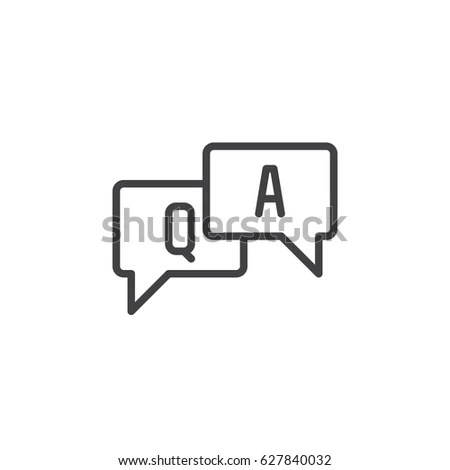 FAQ Questions Answers Line Icon Outline Stock Vector