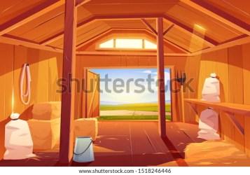 Farm Barn House Inside Empty Wooden Stock Vector Royalty Free 1518246446