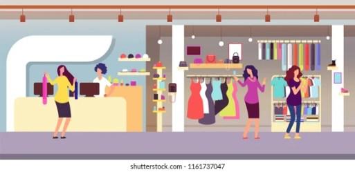 clothes boutique cartoon shopping retail vector clothing shutterstock hands interior children kid window