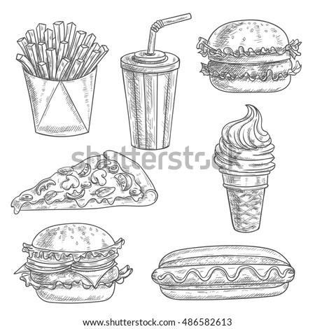 Fast Food Pencil Sketch Snacks Desserts Stock Vector