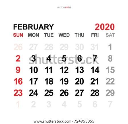 February 2020 Vector Monthly Calendar Template Stock