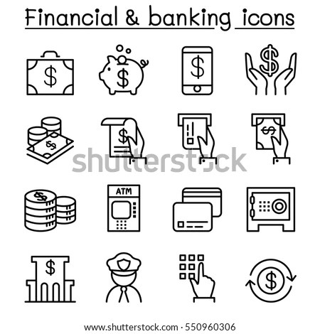 Immagine vettoriale a tema Financial Banking Icon Set Thin