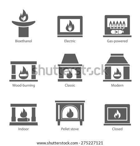 Fireplace Icons Set Vector Flat Sign Stock Vector (Royalty
