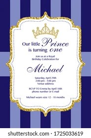 https www shutterstock com image vector first birthday royal celebration printable invitation 1725033619