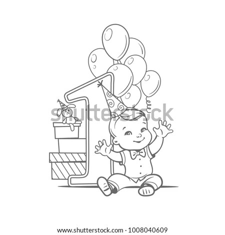 First Year Birthday Party One Year Stock Vector (Royalty