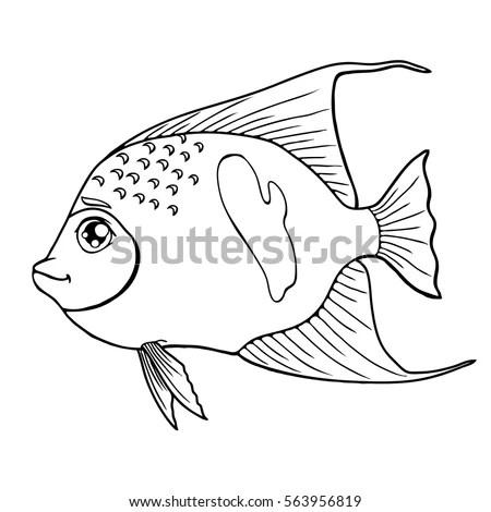 Fish Arabian Angel Black Contour On Stock Vector (Royalty