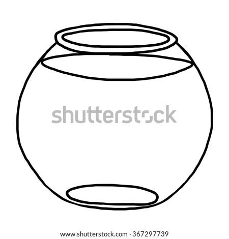 Fish Bowl Cartoon Vector Illustration Black Vector de
