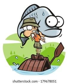 Funny Fishing Cartoons : funny, fishing, cartoons, Funny, Fishing, Cartoon, Stock, Images, Shutterstock