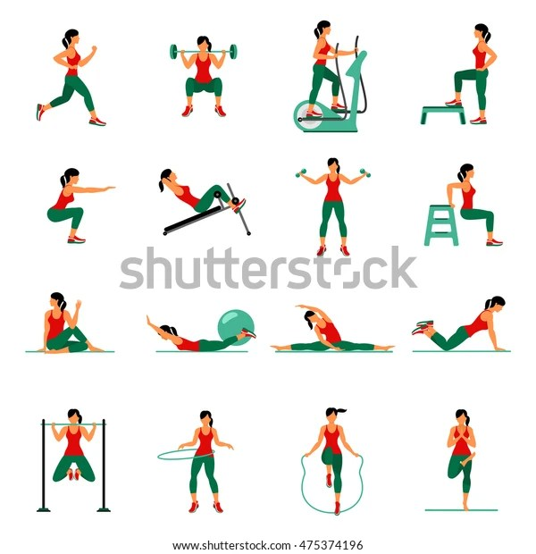 Fitness Aerobic Workout Exercise Gym Vector Stock Vector (Royalty Free) 475374196